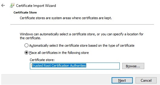install certificate to trusted root certification authorities