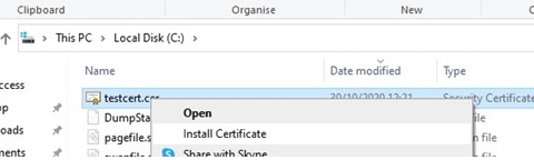 install certificate with file explorer on windows 10