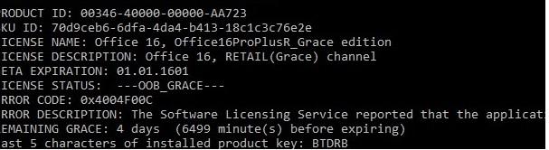 ospp.vbs dstatus Office16ProPlusR_Grace remaining
