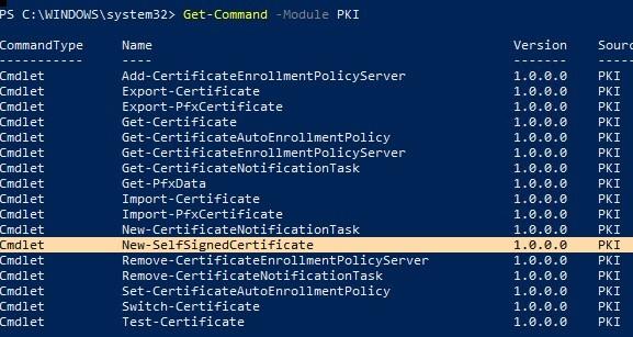 powershell pki module - manage certificates on windows