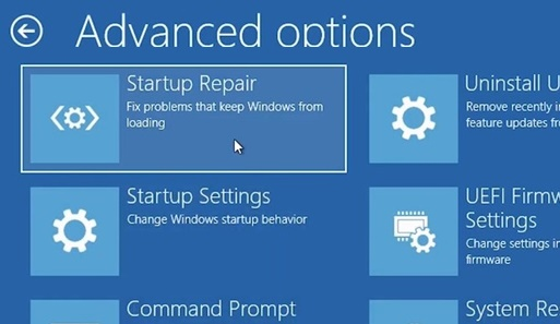 run startup repair on windows 10 in recovery mode