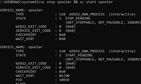 sc restart windows service one-liner