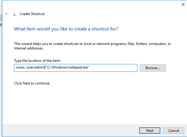 shortcut with runas command