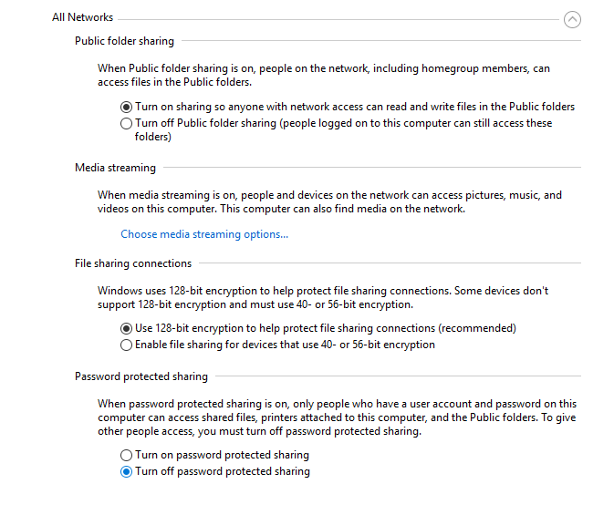Turn on sharing on windows 10