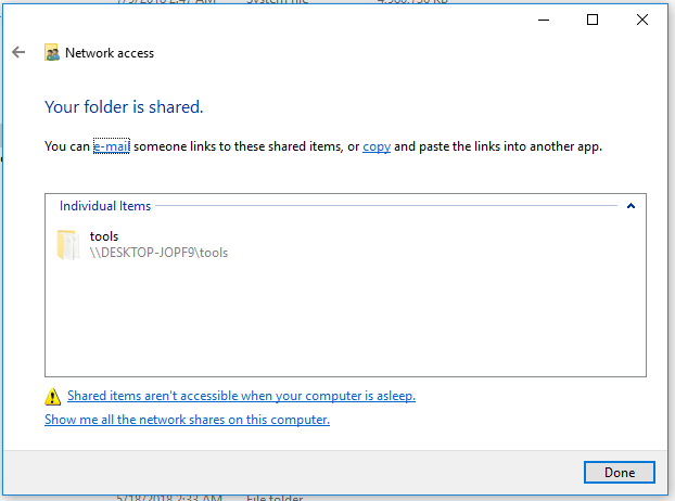 win10: your folder is shared
