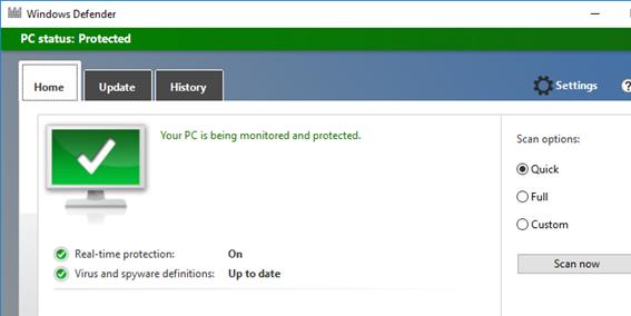 Windows Defender GUI on WIndows Server 2016