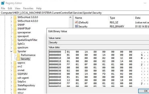 windows service permissions in registry