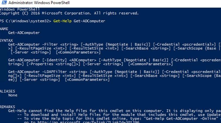Get-ADComputer cmdlet syntax help