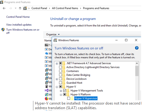 Hyper-V cannot be installed: the processor does not support second level address translation (SLAT).
