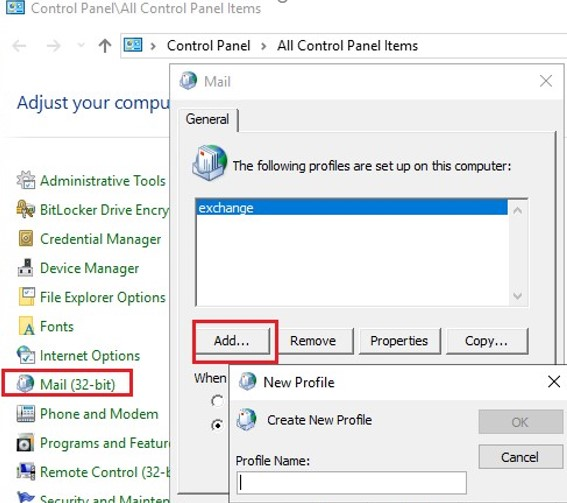 re-create outlook profile using mail app