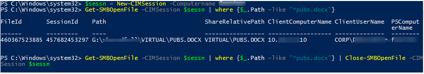 PowerShell Get-SMBOpenFile - Close-SMBOpenFile