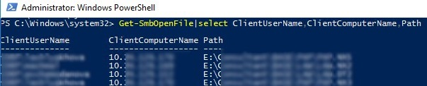 powershell: list smb open files with usernames
