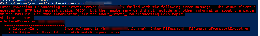The WinRM client received an HTTP bad request status (400), but the remote service did not include any other information about the cause of the failure
