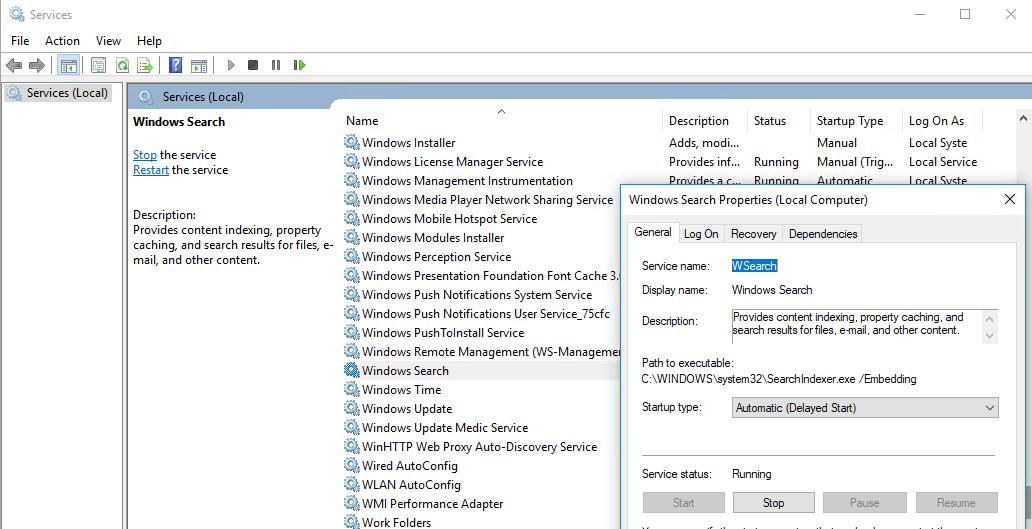 Start Menu and Taskbar Search Not Working in Windows 10