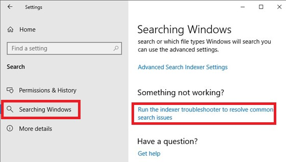 windows 10 run indexer troubleshooter