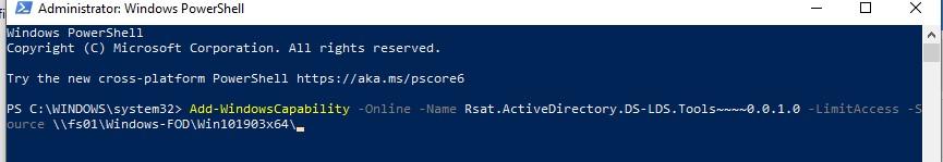 Add-WindowsCapability install rsat from shared folder FOD source