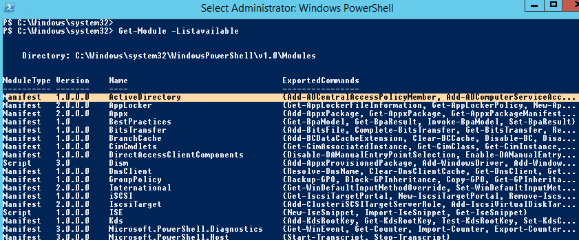 activedirectory module for powershell