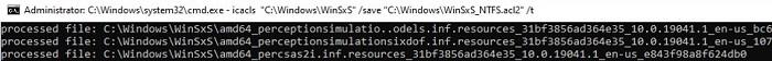 backup ntfs permissions of winsxs folder files using icacls
