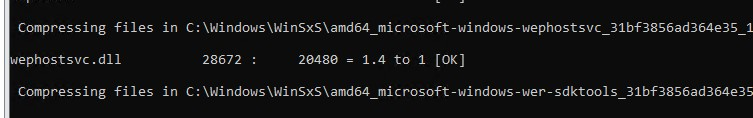 compressing files in the winsxs folder using the compact.exe tool