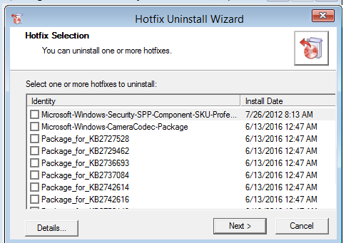 Hotfix Uninstall wizard from msdart