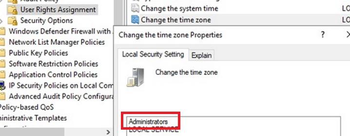 allow administrators to change change timezone via local policy