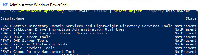 RSAT components windows 10 october 2018 update