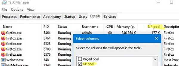 show non-paged pool in task manager for processes