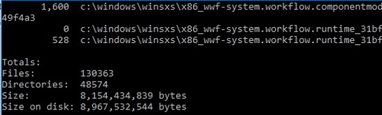 how to check the real size of winsxs folder using du tool