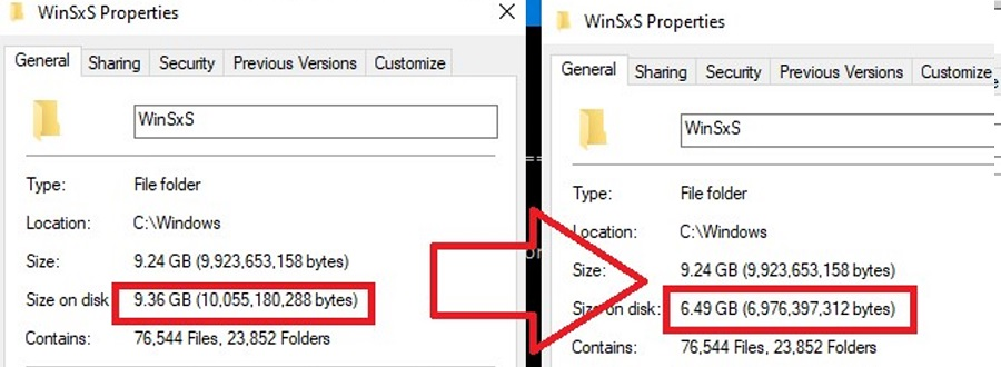 how to saves pace on winsxs folder on windows 10?