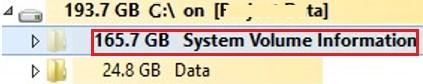 System Volume Information folder taking huge space on Windows Server 2016