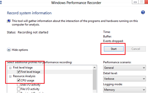 Analyzing high CPU usage with Windows Perfomance Recorder