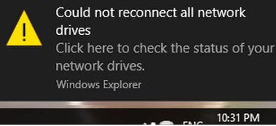 Could not reconnect all network drives in windows 10