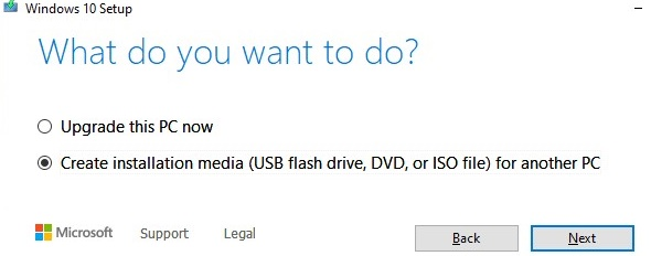create windows10 install media
