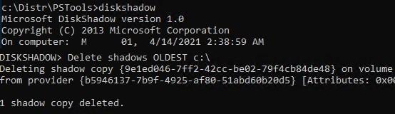 diskshadow delete oldest shadow copy on Windows Server 2019