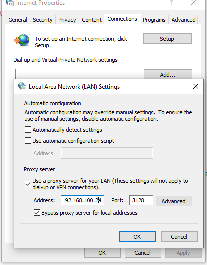 ie proxy setting in windows server 2016