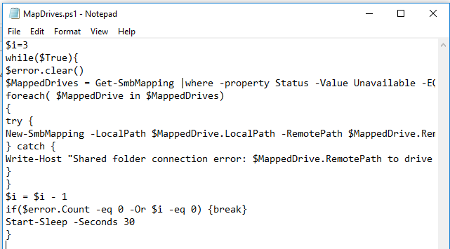 MapDrives.ps1: powershell script to reconnect mapped drives