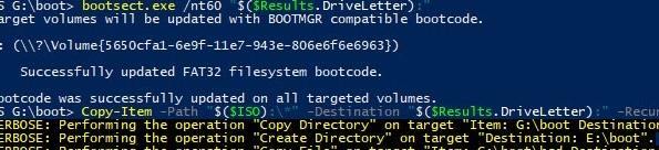 write windows install image on usb stick using powershell