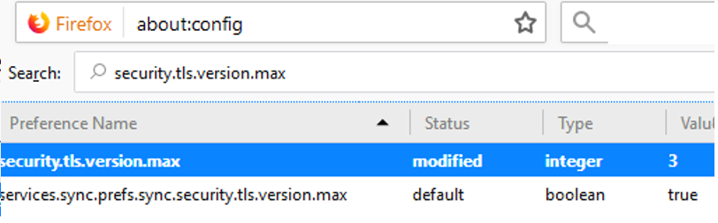 security.tls.version.max in firefox