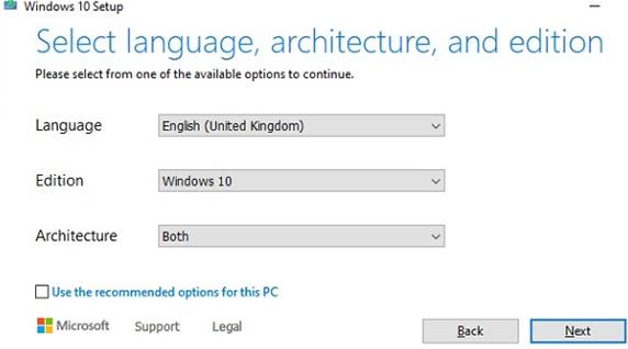 select windows10 image