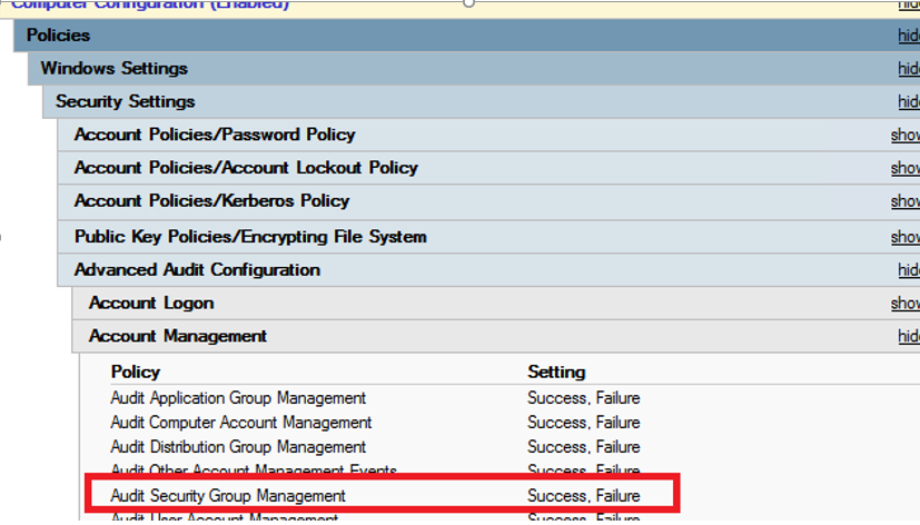 Audit Security Group Management - domain controller policy