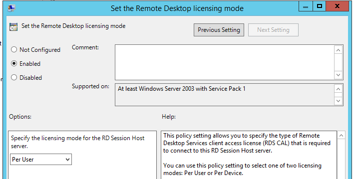POlicy - Set the Remote Desktop licensing mode - Per User