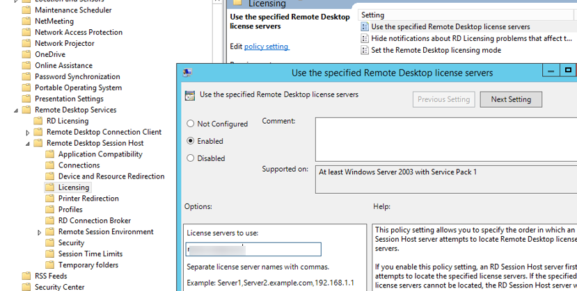 Policy - Use the specified Remote Desktop license servers