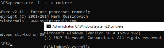 psexec run cmd on behalf of SYSTEM