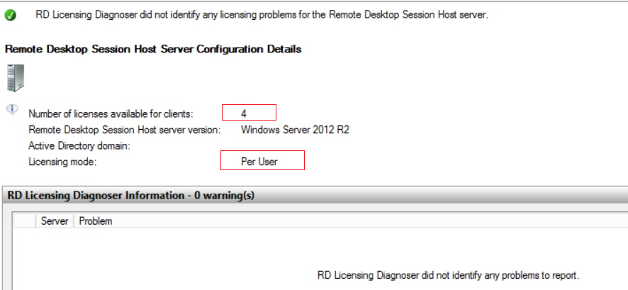 RD Licensing Diagnoser didn't identify any licensing problems