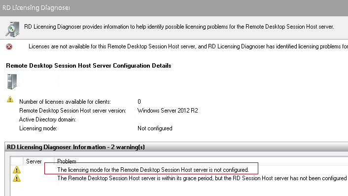 RD Licensing Diagnoser - Licensing mode for the Remote Desktop Session Host is not configured