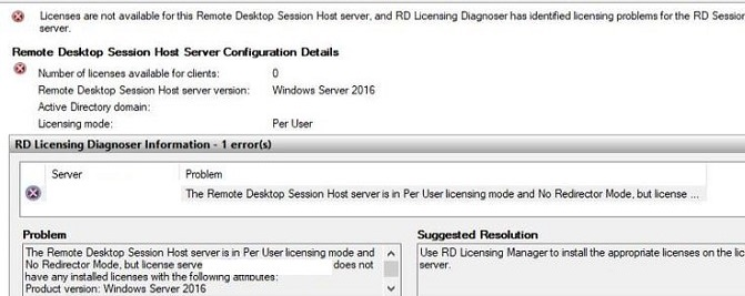 The Remote Desktop Session Host is in Per User licensing mode and no Redirector Mode, but license server does not have any installed appropriate license with the