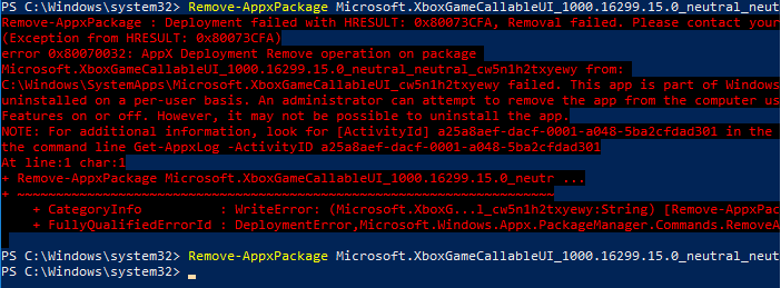 Remove-AppxPackage without 0x80073CFA error