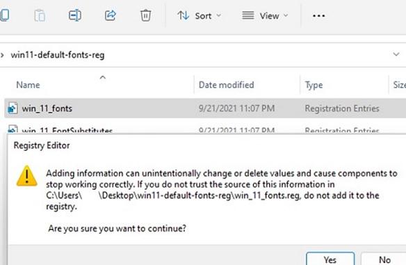 repair font registry settings on windows 10 or 11 using ready-made reg files