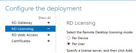 set rd licensing mode during deployment