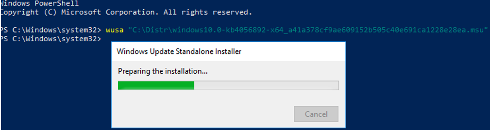 slow msu update installation in windows using wusa